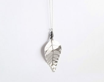 Sterling Silver Long Leaf Necklace Pendant