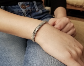MADE TO ORDER- Sterling Silver Woven Mesh Bracelet