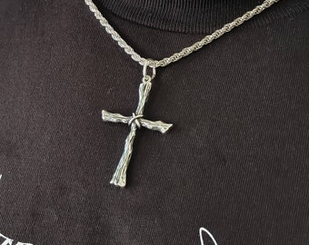 Sterling Silver Rustic Cross Pendant with Chain