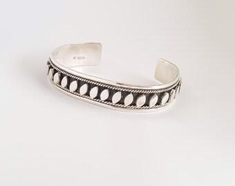 Sterling Silver Leaves Cuff Bracelet
