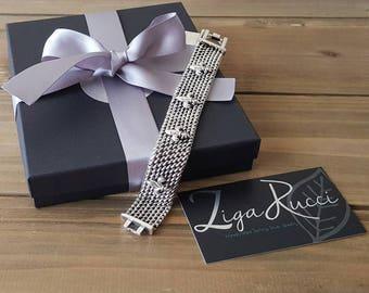 Sterling Silver Fleur de Lis Woven Women's Bracelet