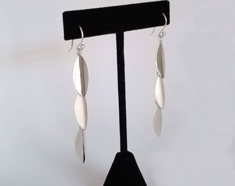 Triplet of Leaves Drop Earring Hooks in Sterling Silver