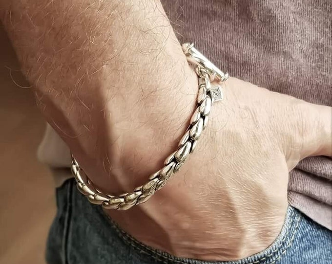 Featured listing image: Sterling Silver Ziga Rucci Men's Scales Bracelet