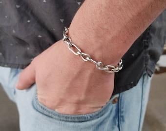 ZR Sterling Silver Cable Link Mens Bracelet