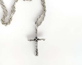 ZR Sterling Silver Branch Cross Pendant with Chain