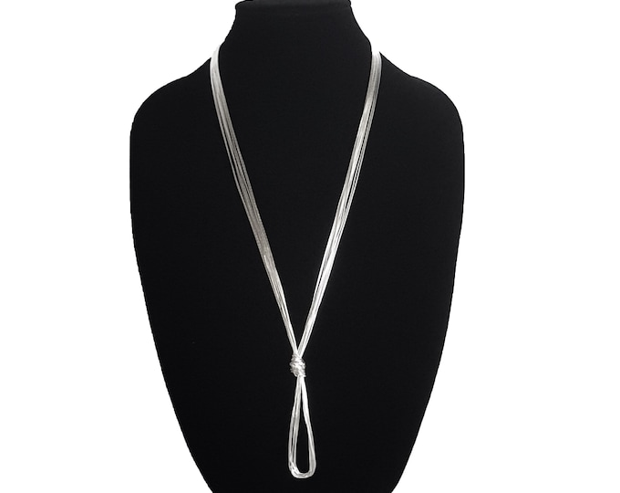Featured listing image: ZR 10 Strands Liquid Silver Long Necklace