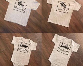 Big Brother, Big Sister, Little Brother, Little Sister, Baseball Shirt, Onesie, Baby, Toddler, Raglan, Cute, Kid's Shirts, Siblings Shirts
