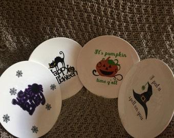 Halloween Set of 4 Stoneware Decorative Plate Set