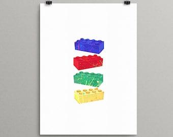 Lego Art, Lego Prints, Lego Decor, Custom Lego Wall Art, Lego Birthday Print, Minimal Lego Faces, Lego Nursery Art, Digital Download