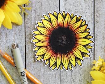 Hand Drawn Sunflower Waterproof Sticker