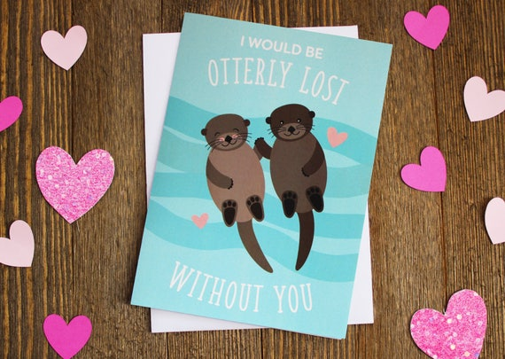 Cute Otter Card Personalized Valentine S Day Card Etsy