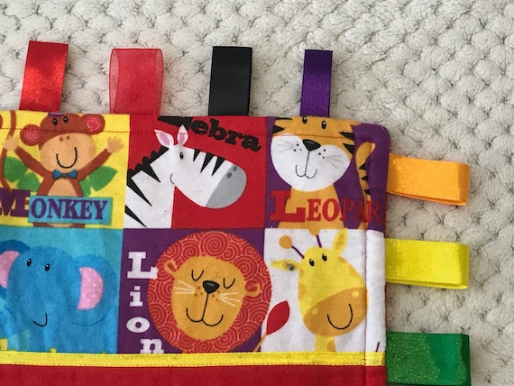 Jungle Animals Baby Girls Personalised Taggy Security Blanket