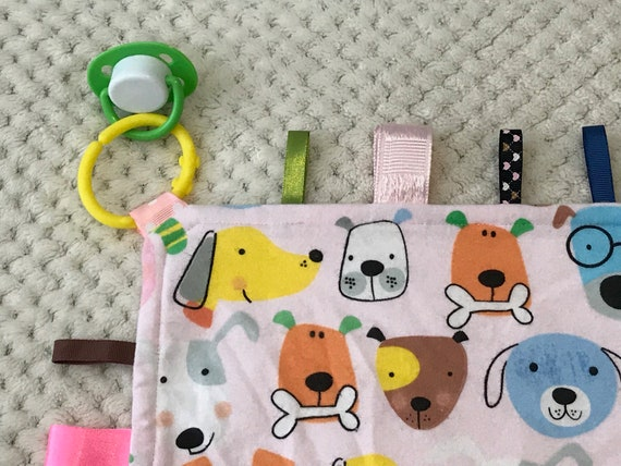 Baby Girls Personalised Taggy Security Blanket Scotty Dogs