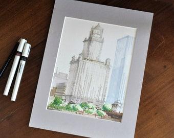 Jeweler's Building Matted Original Sketch