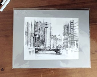 Chicago River Matted Print