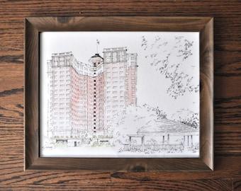 Edgewater Beach Apartments Framed Print