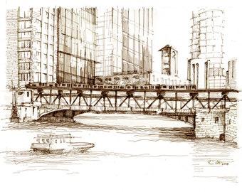 Wells St Bridge Matted Print