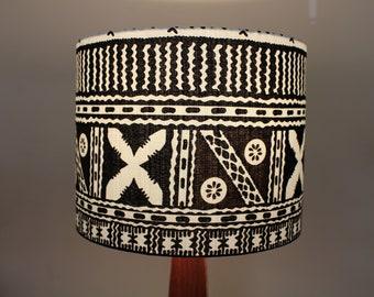 Samoan Tapa Inspired Lampshade - Earthy Brown Lighting - Tribal Polynesian/Hawaiian/African Lamp Shade - Handmade