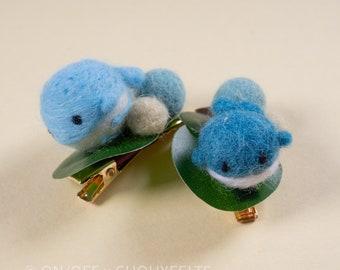 Whale Needlefelt Hair Clip DIY Kit  Japanese Wagashi Inspired Animal Children's Hairclip