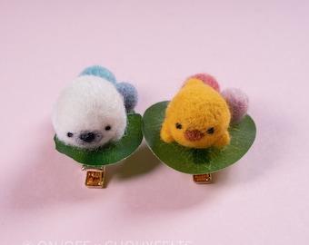 Chick Needlefelt Hair Clip DIY Kit Japanese Wagashi Inspired Animal Children's Hairclip