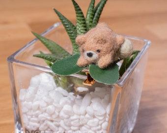 Bear Needlefelt Hair Clip DIY Kit Japanese  Wagashi Inspired Animal Children's Hairclip