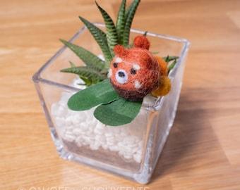 Red Panda Needlefelt Hair Clip DIY Kit Japanese Wagashi Inspired Animal Children's Hairclip