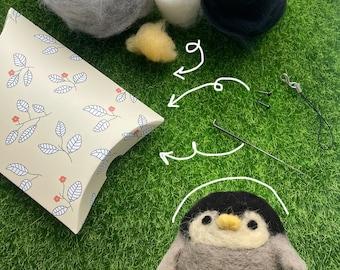 Baby Penguin Needlefelt DIY Kit Ornament Decoration Laundry Ball Gift Diffuser