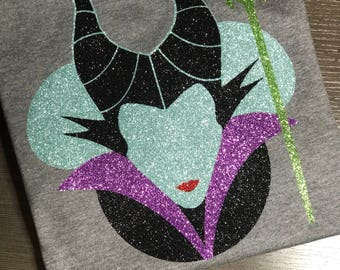 Disney Shirt, maleficent, Sleeping Beauty, mickey head, Glitter, Sparkle, Trip, Vacation, Kids, Mens, Ladies, Women's Plus Size