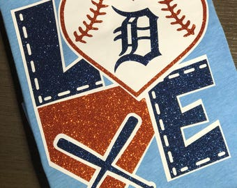 Baseball, Michigan, Detroit, Tigers, Mitten, Upper Peninsula, old english d, D, Glitter, Sparkle, Trip, Vacation, Kids, Mens, Ladies, Womens