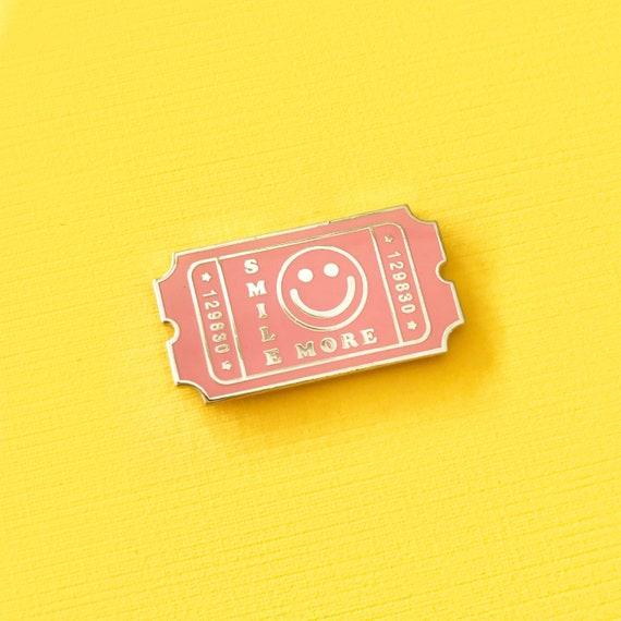 Pink Smile More Admit Ticket Enamel Pin