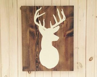 Deer Silhouette, Wooden Sign