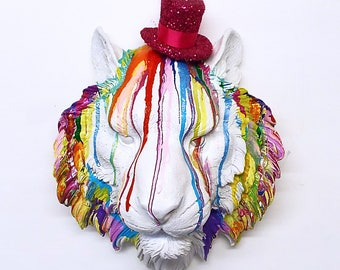 Tiger Lion faux taxidermy ~ resin wall mounted art ~ rainbow bright colours custom gift ~ birthday wedding anniversary interior design