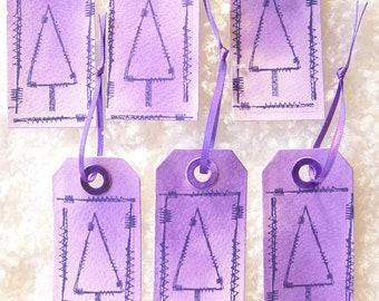 Set of 6 Christmas gift tags - stitched up Christmas