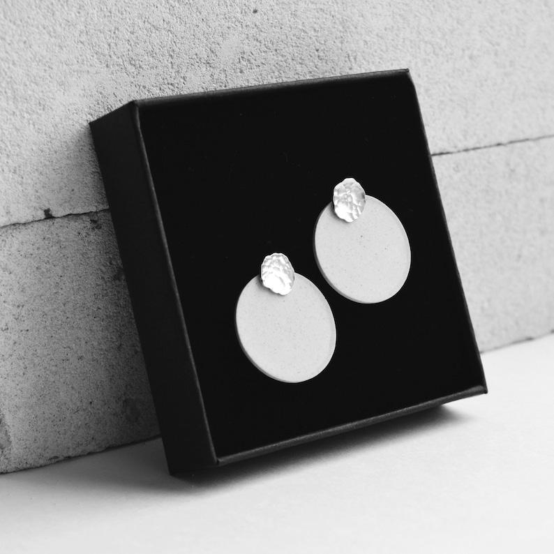 white silver porcelain ceramic earrings silver white porcelain silver ceramic jewelry gift for her Porcelain earrings stud earrings