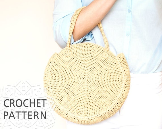 Crochet Bag Pattern Raffia Bag Round Bag Crochet Bag Etsy
