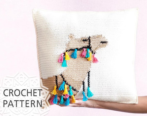 "Camel Pillow, Crochet Pattern, Pillow cover, Cushion, Home decor, 16""X16"", Summer Cushion, Tassel, Camel chart, Boho, Download PDF - How to Crochet Summer Pillow Patterns"