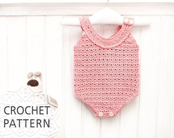 Baby Romper Crochet Pattern For Girl Baby Clothes Newborn Etsy