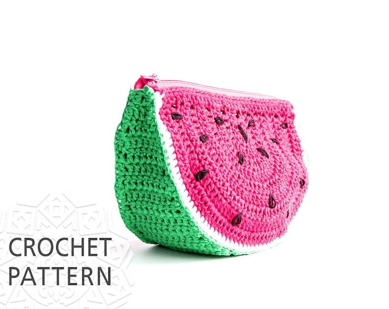 33e803fbe3cc Crochet Pattern, Watermelon, Purse, Crochet Bag Pattern, Fruit Pouch,  Handbags, Fruit Makeup bag, Download PDF