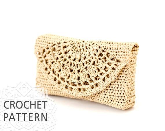 Crochet Bag Pattern Raffia Bag Clutch Purse Handbags Etsy