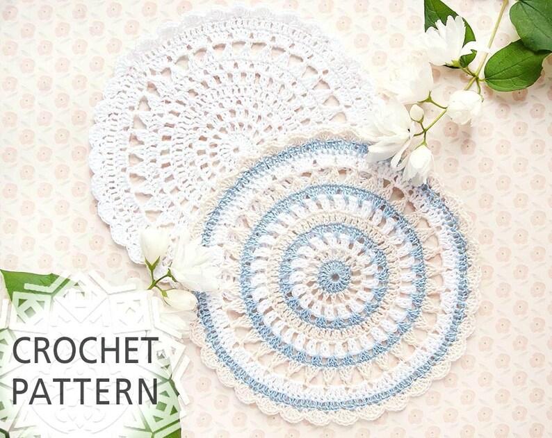Crochet doily pattern Crochet Doily For beginnes Home image 0