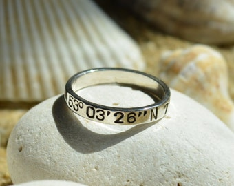 Sterling Silver Ring | Coordinates Ring | Anniversary Gifts For Boyfriend | Promise Ring | Couples Gift | Long Distance Relationship | Mens