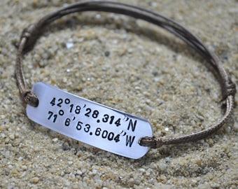 Coordinate Bracelet, Mens Bracelet, Couples Bracelet, 1 year anniversary gift for boyfriend, Boyfriend Gift