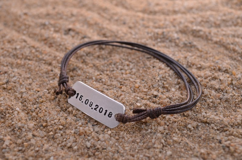 Personalized Band Bracelet  Anniversary Gifts For Boyfriend  image 0