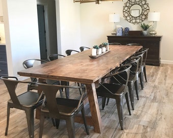 73966255eb2eb5 Farmhouse Dining Room Table // Knotty Alder // Rustic // Truss.  UrbanWoodPhoenix. 5 out of ...