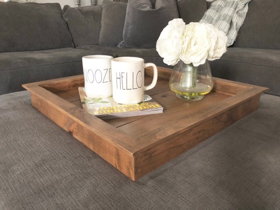 Excellent Large Square Tray Ottoman Wood Tray Rustic Wooden Serving Tray Centerpiece Coffee Table Tray Wood Tray Caraccident5 Cool Chair Designs And Ideas Caraccident5Info