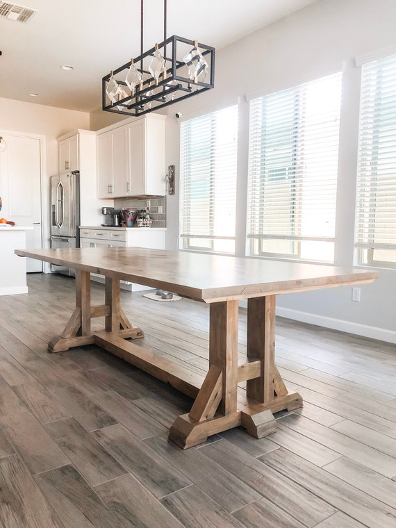 Farmhouse Dining Room Table // Knotty Alder // Rustic // H Base