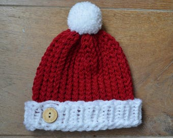 be7639aa89a Christmas baby announcement -Knit baby hat - Santa baby hat - Crochet baby  hat - Photo prop - Gender neutral - Unisex pompom beanie