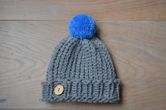 8ba5c3fef63 Knit baby hat Crochet baby hat boy Grey baby beanie Blue