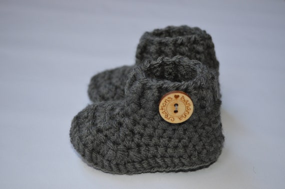 Grey crochet baby booties New baby gift