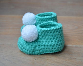 Crochet baby booties - Crochet baby shoes - Pompom booties - Baby shoes - baby shower gift - summer baby socks - Turquoise - gift baby girl